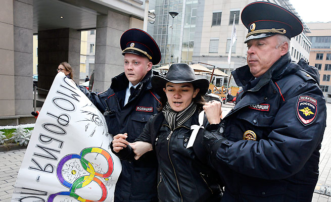 Russian protesters of the country's anti-gay law clashed with police in September.
