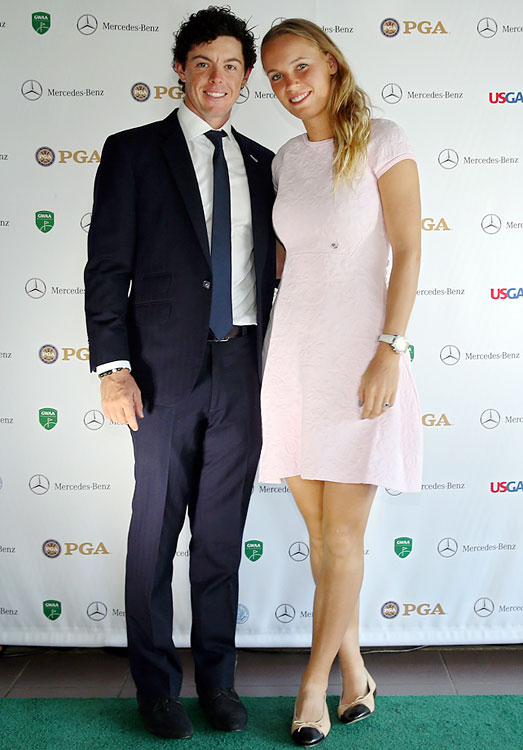 Northern Irish pro golfer Rory McIlroy and Danish pro tennis player Caroline Wozniacki announced their engagement on New Year's Eve 2013. The couple started dating in the summer of 2011 and have remained together, despite repeated rumors of a break-up in 2013, including McIlroy dumping her over a picture she tweeted of him sleeping with his mouth wide open on Sept. 16.