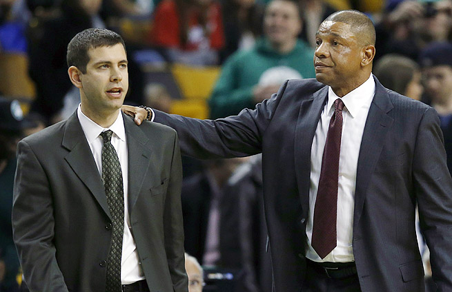 Doc Rivers (right) returned to Boston for the first time, meeting his Celtics successor, Brad Stevens.