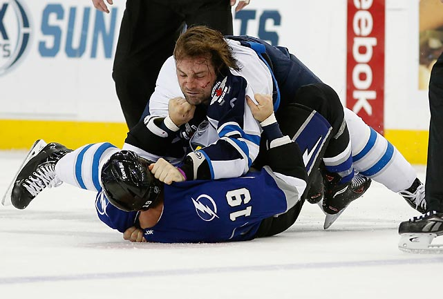 In other winter wonderment, Mark Stuart of the Winnipeg Jets and B.J. Crombeen of the Lightning got cozy at Tampa Bay Times Forum.