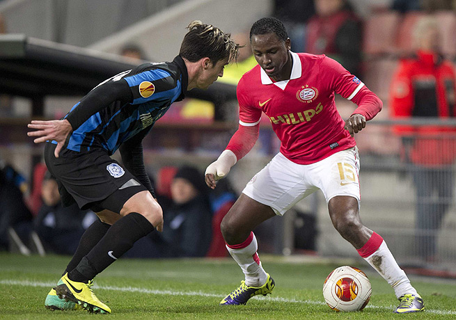 Jetro Willems (right) and PSV Eindhoven will not play in the Europa League knockout stage.