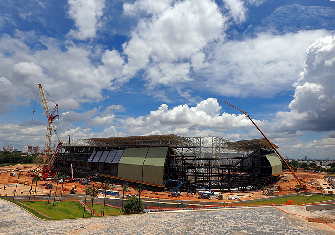 Construction has lagged on the new World Cup stadium in the Brazilian city of Cuiaba.