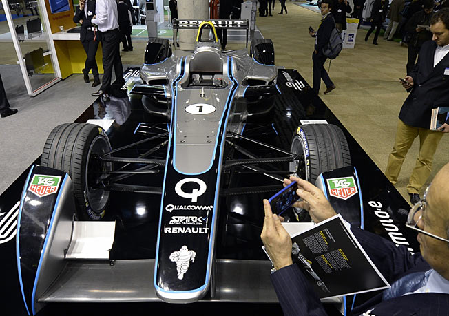 A Forumla E race car on display at the Electric Vehicles Symposium and Exhibition in Barcelona.