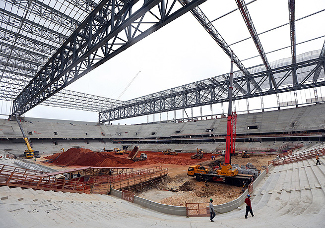The stadium in Curitiba is one of a handful of World Cup venues experiencing building problems.