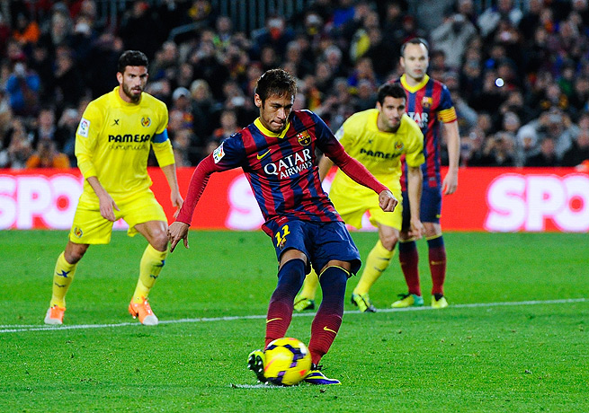 Neymar scored from the penalty spot in the 30th minute and then struck again in the 68th.