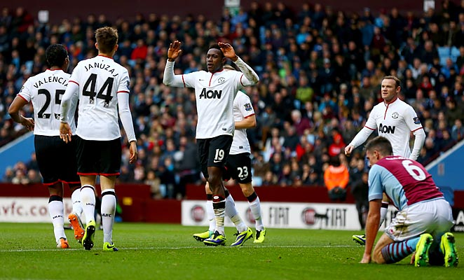Danny Welbeck scored twice in Manchester United's dominant display against Aston Villa on Sunday.