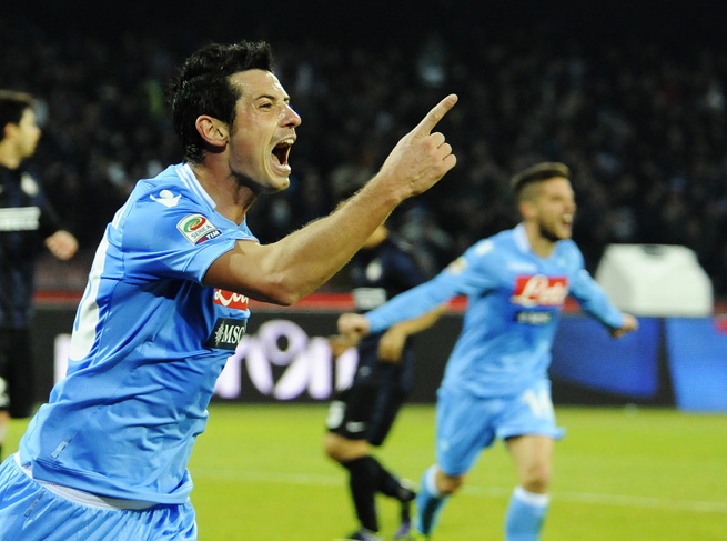 Napoli's Blerim Dûemaili celebrates after scoring during their 2-0 win over Inter Milan.