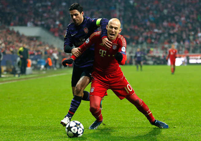 Arsenal's Mikel Arteta, left, and Bayern Munich's Arjen Robben will have their sides clash in the Champions League round of 16 for the second straight season.
