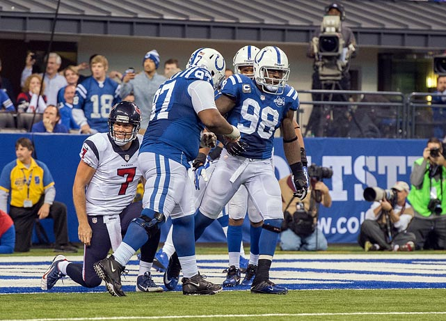 "With his strip sack safety of Houston's Case Keenum on Sunday (Dec. 15), Robert Mathis set both a franchise record (108) and the Colts' single-season record in sacks (16.5). Longtime teammate and close friend Dwight Freeney held the Colts' previous marks, getting 16 in 2004 and 107½ in his career. The Freeney/Mathis combination will go down as one of the greatest in NFL history for good reason. The bookend pass-rushers already epitomized the, ""Meet you at the quarterback"" mentality of today's defensive game, combining for 199 sacks until Freeney's departure to San Diego in 2013."