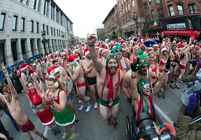 Wearing little more than a swimsuit, the attendees of the 14th annual Santa Speedo Run braved the cold on the weekend of Dec. 14th and ran around Boston's Boylston and Newbury streets to raise money for charity. After the run, participants sought warmth in the after party at Lir Tavern and Whiskey's. The run's beneficiary, the Play Ball! Foundation, provides access to competitive sports to Boston's public middle school students.