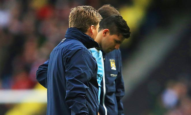 Sergio Agüero was taken off against Arsenal with a right calf injury over the weekend.
