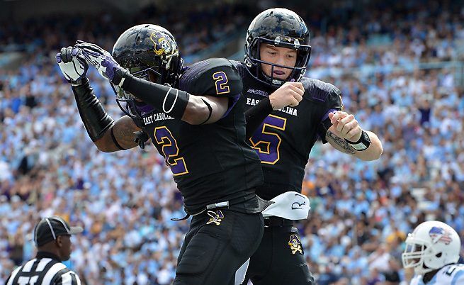 Justin Hardy (2) and Shane Carden (5) have anchored an impressive East Carolina offense this season.