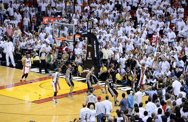 In the closing seconds, Chris Bosh found Ray Allen, a career 40.3 percent three-point shooter in the playoffs.