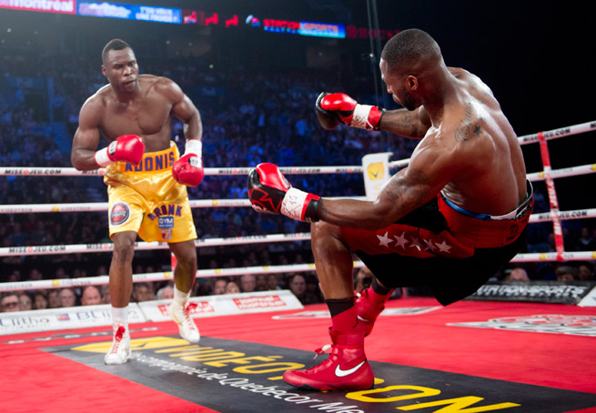 Adonis Stevenson, left, knocks out Chad Dawson in the first round of their WBC light-heavyweight championship bout on June 8 in Montreal.