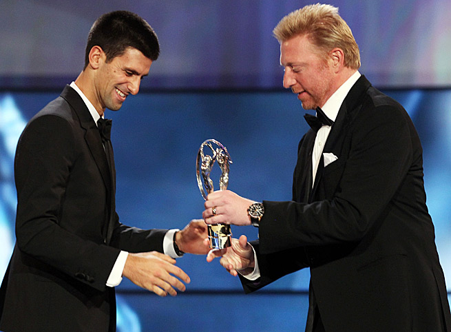 Novak Djokovic (left) and Boris Becker, shown at a 2012 awards show, are teaming up.