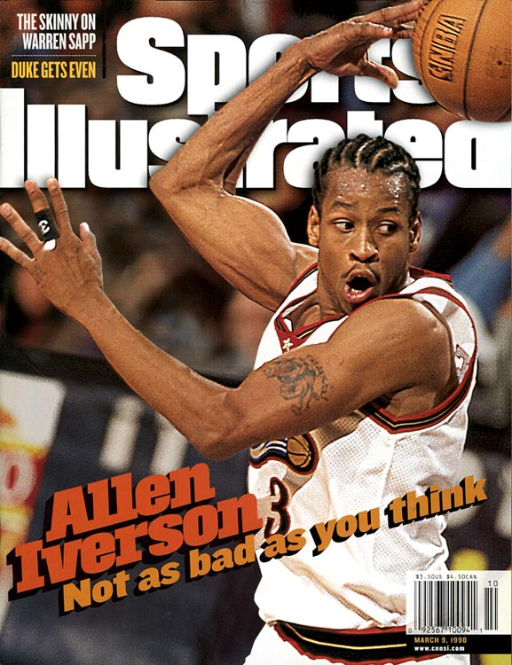 "Iverson entered the NBA with only one tattoo, a bulldog on his left bicep with ""The Answer"" inscribed above it. The nickname's origins are shaky (a man sued Iverson over creation of the nickname in 2001 but the case was later dismissed) but its meaning a clear reflection of his many talents and dominating performances on the court. He lived up to it from the first year of his career, averaging 23.5 ppg for the Sixers and capturing Rookie of the Year honors."