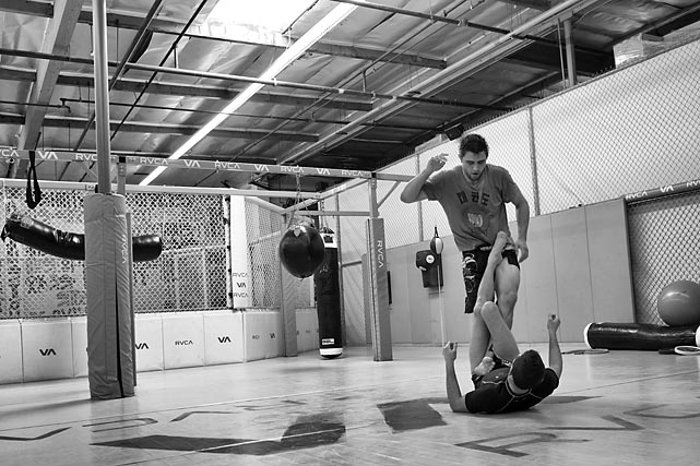 Carlos Condit and world jiu jitsu champion Caio Terra getting in some Sunday training.
