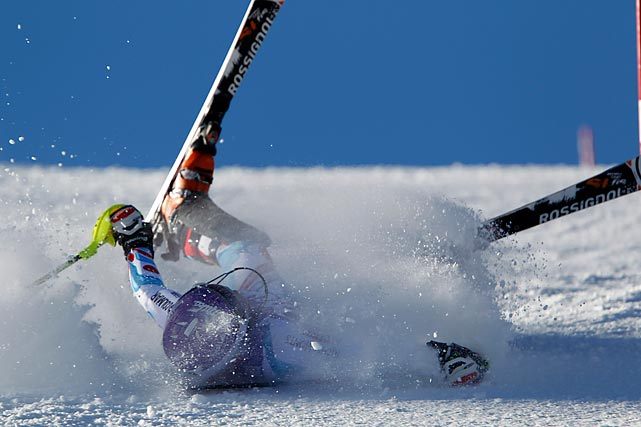 Tessa Worley of France was caught on camera taking a snootful of white powder during the women's slalom event in Courchevel, France.