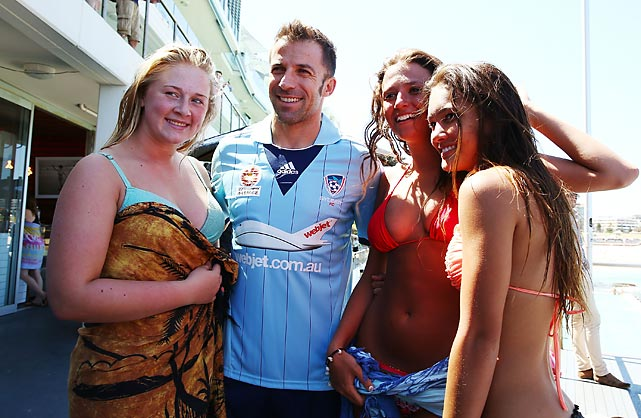 Yes, it's summer Down Under where global football icon Alessandro Del Piero of Sydney FC got into a scrum with maidens in swimwear as the Hyundai A-League launched the first of its 16 matches in 17 days during the holidays in Australia and New Zealand. The big bash took place at Sydney's Bondi Beach.