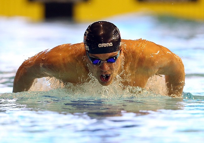 Tom Shields took first in the 100 meter butterfly for the United States at Duel in the Pool.