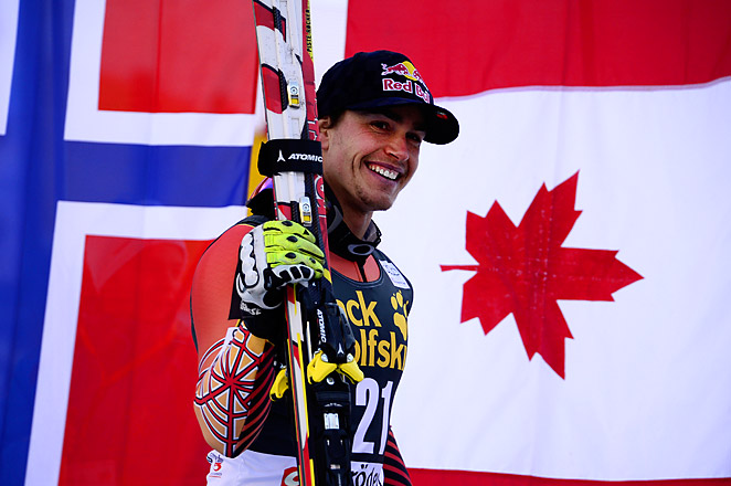 Erik Guay finished the race down the Saslong course in just 1 minute, 56.65 seconds.