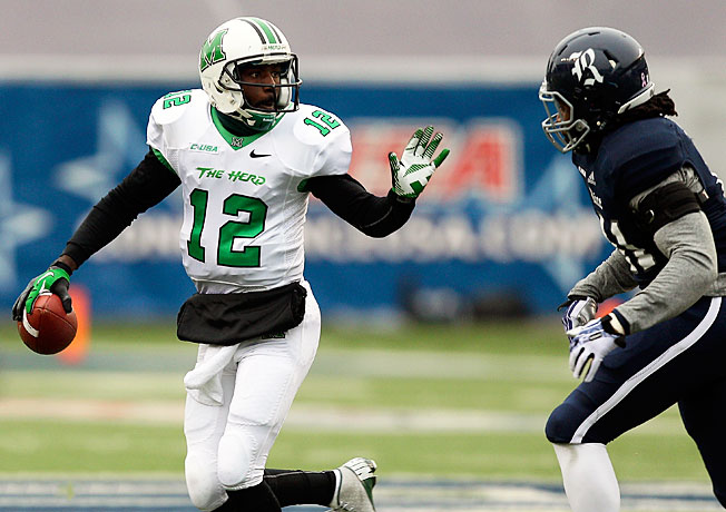 Marshall quarterback Rakeem Cato has passed for 3,579 yards and 36 touchdowns this season.