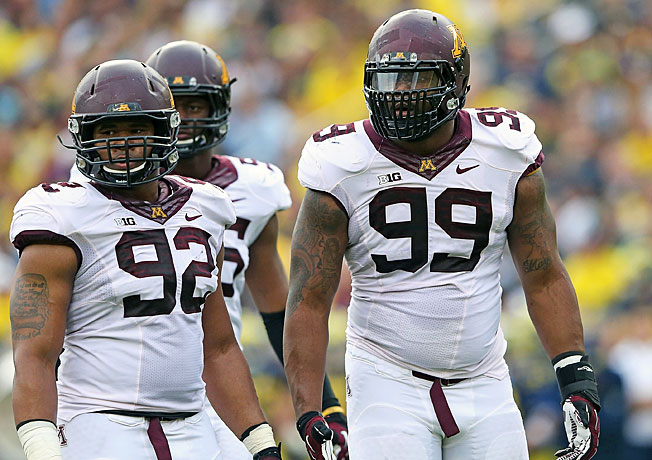 Defensive tackle Ra'Shede Hageman (99) and the Minnesota defense will work to shut down Syracuse.
