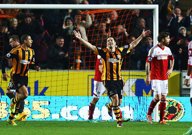 Matty Fryatt (center) celebrated after scoring Hull's fifth goal in the 74th minute against Fulham.