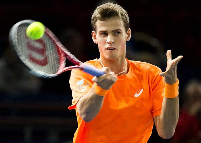 Canada's Vasek Pospisil took only 81 minutes to defeat Britain's Kyle Edmund, 6-3, 7-5.
