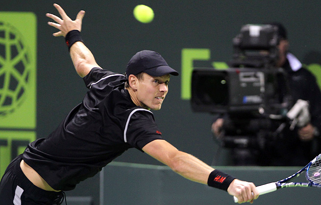 Tomas Berdych said he struggled to find his rhythm against Ivo Karlovic in the opening round of the Qatar Open.