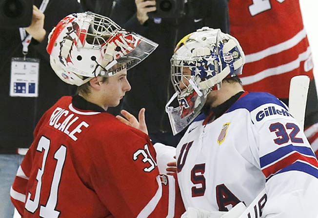 Team Canada goalie Zach Fucale (25 saves) outdueled his U.S. counterpart Jon Gillies.
