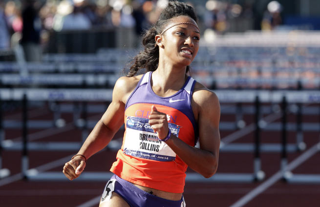 Brianna Rollins broke her own collegiate record in the 100-meter hurdles Saturday.