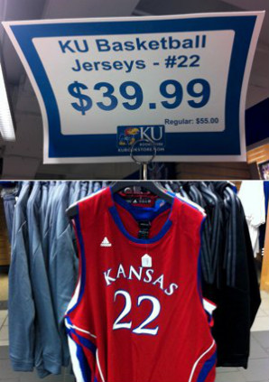 Andrew Wiggins' jersey on sale at the campus bookstore.