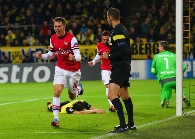 Aaron Ramsey celebrates his game-winning goal in Arsenal's 1-0 Champions League triumph at Borussia Dortmund.
