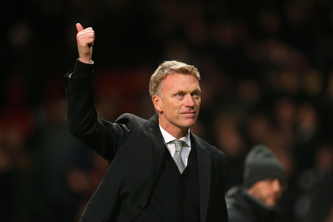 Manchester United manager David Moyes salutes the fans after Tuesday's 1-0 Champions League victory over Shakhtar Donetsk.