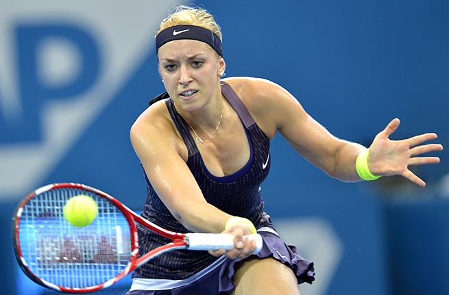 Sabine Lisicki defeated Magdalena Rybarikova in her first-round match in Brisbane.