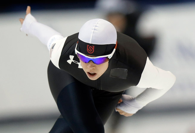 Maria Lamb will compete in her third Olympics after finishing first in the 5,000 meters in the U.S. Speedskating trials in Utah.