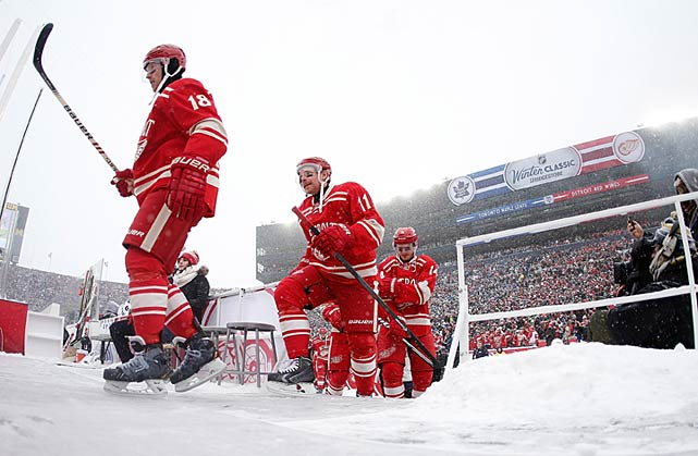 The Red Wings, playing in their second Winter Classic, emerged from their dressing room to a winter wonderland of constantly falling snow.