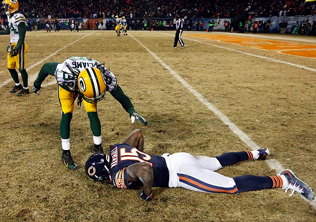 Brandon Marshall and his Bears performed a painful faceplant in the waning moments of their regular season finale, conceding the NFC North to Tramon Williams and the Green Bay Packers.