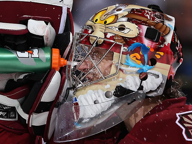 The Phoenix Coyotes goaltender, he of the infamous Butt Goal (watch it here) wears appropriate headgear. Ol' Wile E. would pretty much mind the net the same way. All that was missing was Acme dynamite.