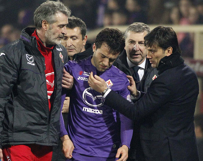 A dejected Giuseppe Rossi limps off the field in Sunday's match against Livorno, but tests revealed his injury is not as bad as initially feared.
