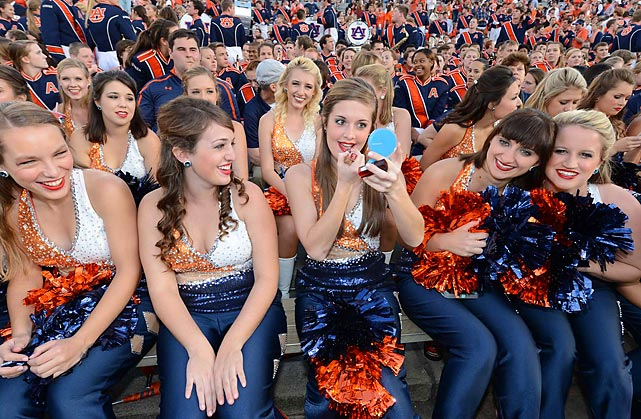 Auburn's cheerleaders and marching band prepare for kickoff before the start of the game.