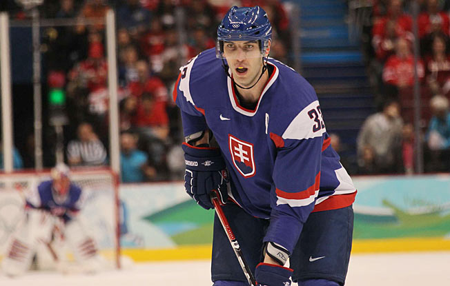 Zdeno Chara gives Team Slovakia a looming presence on the backline and a booming shot.