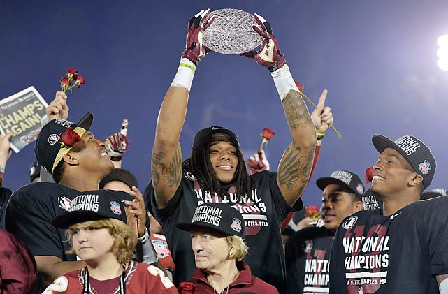 Seminoles players lifted The Coaches' Trophy after defeating Auburn in the BCS National Championship game.