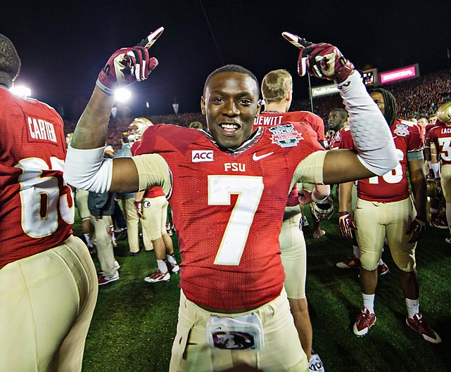 Florida State receiver Levonte Whitfield celebrates his team's national title victory. Whitfield returned a kick 100 yards for a touchdown with less than five minutes remaining in the fourth quarter.