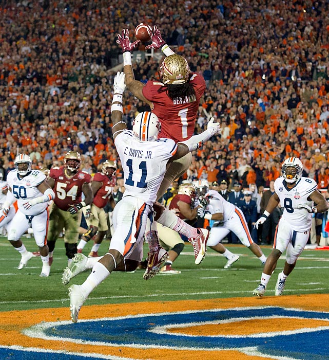 Florida State wide receiver Kelvin Benjamin catches the game-winning touchdown with only 13 seconds left during the BCS National Championship game.