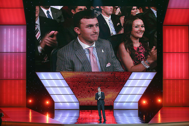 Manziel listens while Host Jon Hamm speaks onstage at The 2013 ESPY Awards at Nokia Theatre L.A. Live on July 17, 2013.