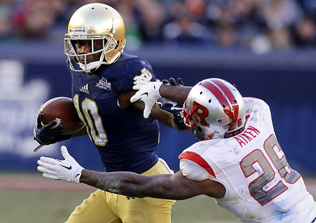 Notre Dame receiver DaVaris Daniels (10) will not be enrolled this spring because of an academic issue.