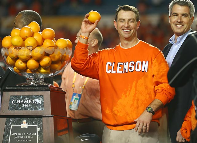 One of the great rewards of being head coach of the team that wins the Orange Bowl -- in this case, the Clemson Tigers -- is that you are allowed to pelt the vanquished -- in this case, the Ohio State Buckeyes -- with produce. We've been told that it's one of college football's most cherished traditions.