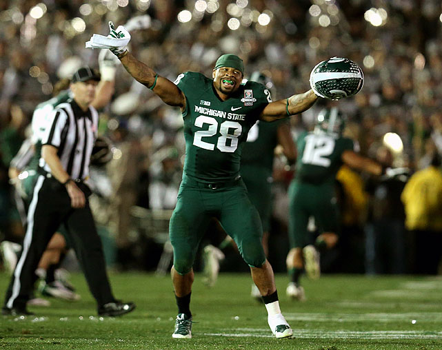 Fellow linebacker Kyler Elsworth's last-minute, fourth-and-one stop sealed the Rose Bowl for the Spartans, but Allen's stifling play was what fueled their 24-20 win. He stuffed Stanford's Tyler Gaffney on fourth-and-three in the third quarter and finished with seven tackles, including 1.5 for loss.